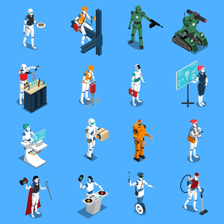 Robot professions isometric colored icons set with cleaner worker doctor police housemaid figurines on blue background isolated vector illustration Banco de Imagens - 82886021