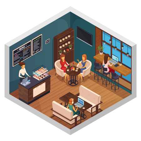 Internet cafe interior restaurant pizzeria bistro canteen isometric composition of visitors using wi-fi  on gadgets vector illustration