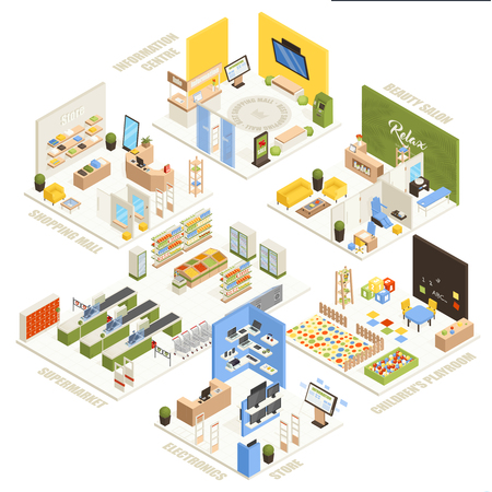 Shopping mall electronics store children playroom information  center supermarket and beauty salon isometric composition poster vector illustration Ilustrace