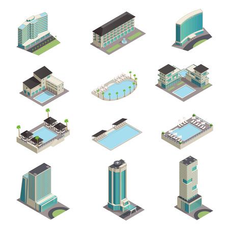 Luxe hotel gebouwen isometrische pictogrammen met moderne wolkenkrabbers zwembaden zwembaden en ontspanning gebied geïsoleerde vector illustratie
