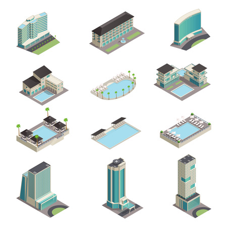 Luxury hotel buildings isometric icons with modern resort skyscrapers pools and relaxation area isolated vector illustration Иллюстрация