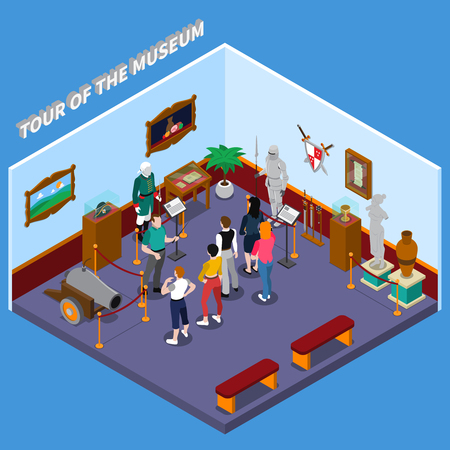Tour of museum isometric composition with guide and group of visitors, warriors, weapon, ancient sculpture vector illustration Иллюстрация