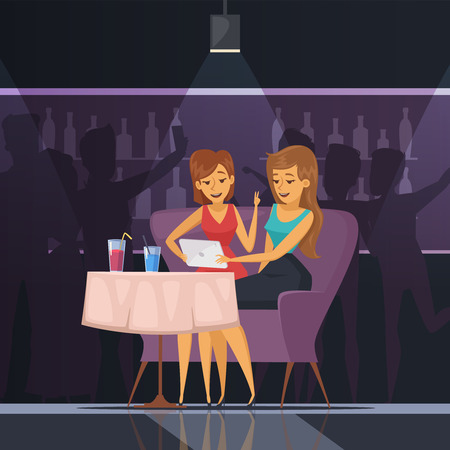 dancing club: Selfie in cafe with women tablet table and drinks flat vector illustration