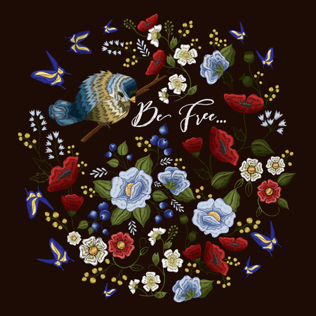 Embroidery colorful pattern with floral ornament little bird on branch and flying blue butterflies on black background flat vector illustration Vettoriali