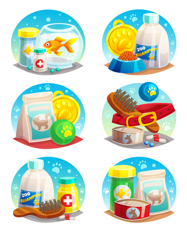 Pet shop compositions set with toys and medicines, canned and dry food shampoo, medals isolated vector illustration