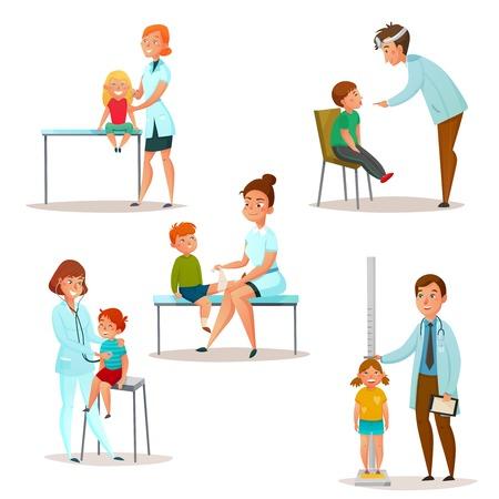 색이 지정된 격리 된 아이 소아과 의사 및 신경 학자 세트 의사 아이콘을 방문하십시오. 환자 벡터 일러스트 레이 션을 검사합니다. 일러스트