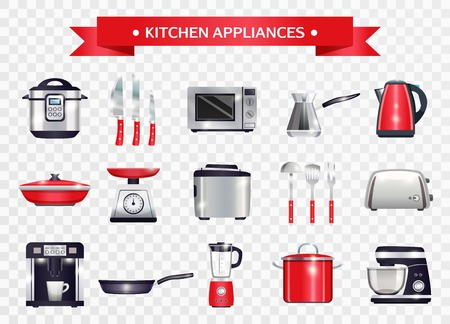 Set of kitchen appliances including slow cooker, microwave, coffee machine, scales on transparent background isolated vector illustration