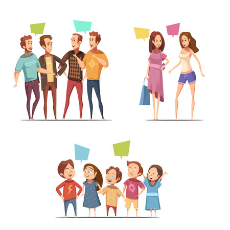 Family retro cartoon set with funny groups of male female and children characters talking to each other flat vector illustration