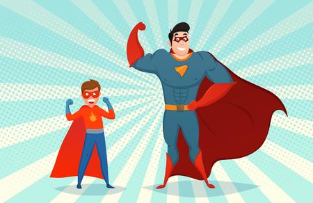 Superheroes van de mens en van de jongen in masker en kleurrijk kostuum op pop-art achtergrond retro stijl vectorillustratie