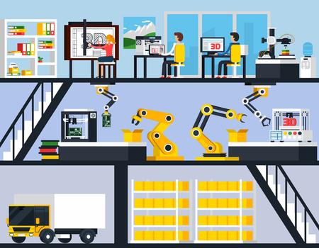 장비 및 기술 직원 개발 및 평면 벡터 일러스트 레이 션에 종사하는 3D 인쇄 가로 조성