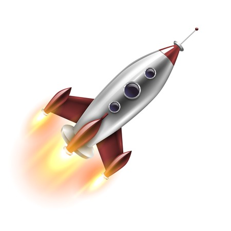 Realistic rocket of red grey color with round portholes in flight on white background isolated vector illustration
