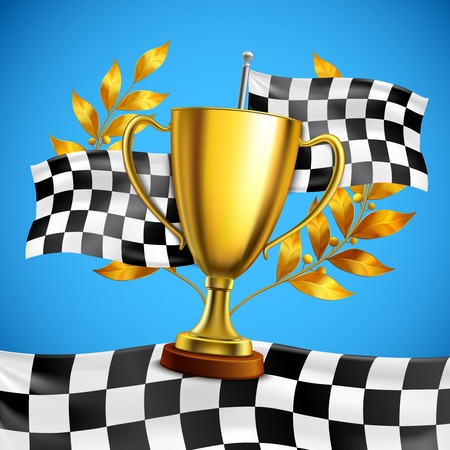 Gold race winner trophy with golden bay laurel wreath branches on checkered flag blue background vector illustration Иллюстрация