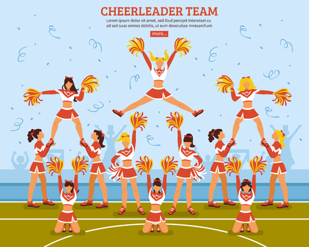 Cheerleaders girls team in sexy outfits performing on soccer stadium field flat website design poster vector illustration