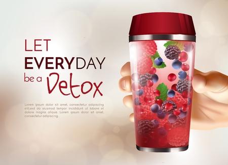 Poster with hand holding detox bottle with berries inside on beige blurred background 3d design vector illustration