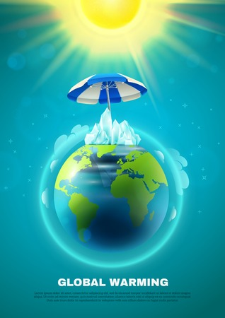 Global warming poster with planet earth in atmosphere under umbrella from sun on blue background vector illustration
