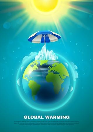 Plakat der globalen Erwärmung mit Planetenerde in der Atmosphäre unter Regenschirm von der Sonne auf blauer Hintergrundvektorillustration