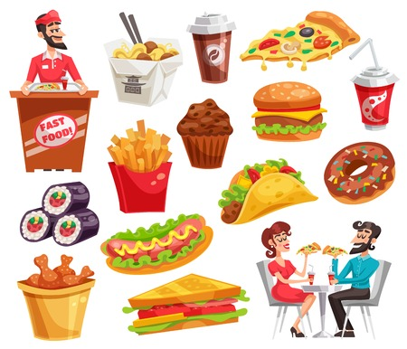 Fast food set with restaurant worker and clients sandwiches noodle potato chicken legs drinks isolated vector illustration