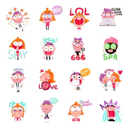 Funny people expressing various emotions with speech bubbles cartoon set isolated on white background vector illustration