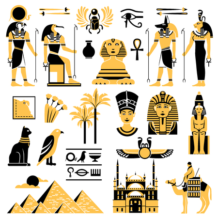 Gypten Symbole in goldenen und schwarzen Farben mit alten ägyptischen Gottheiten Pyramide und Minarett flache Vektor-Illustration gesetzt Standard-Bild - 83245094