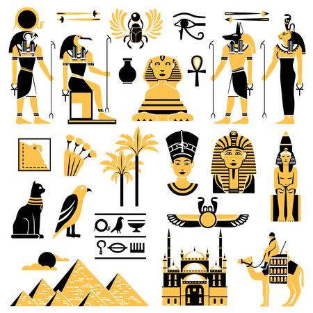 Symboles de l'Egypte dans les couleurs dorées et noires avec les anciennes divinités égyptiennes pyramide et minaret illustration vectorielle plane