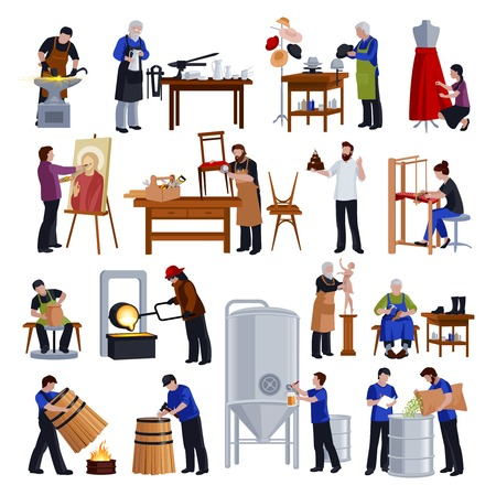 Traditional crafts and craftspeople at work flat icons collection with tailor weaver blacksmith and shoemaker vector illustration