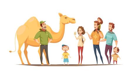 Wilde dierensamenstelling met dromedary kameel berijdende instructeur en groep nieuwsgierige jonge geitjes en volwassen karakters vectorillustratie Stock Illustratie