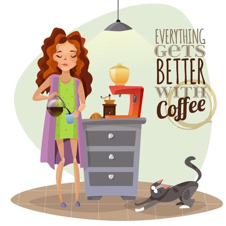 朝のコーヒーを注いでカップ コーヒー マシンと猫少女と漫画のベクトル図を目覚め