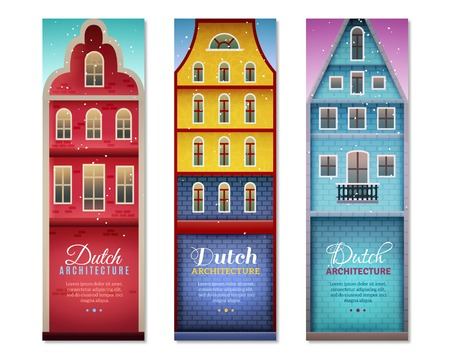 Dutch houses typical holland architecture and sightseeing for travelers 3 vertical colorful banners set isolated vector illusration Ilustração