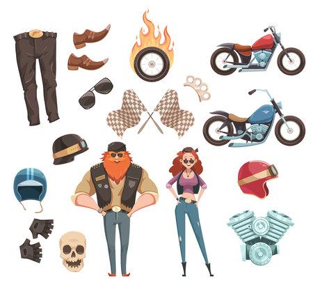 Retro reeks van de beeldverhaalruiter van fietsers draagt de motorfietsen van de toebehorenrijder en twee vlakke vectorillustratie van krabbel menselijke karakters