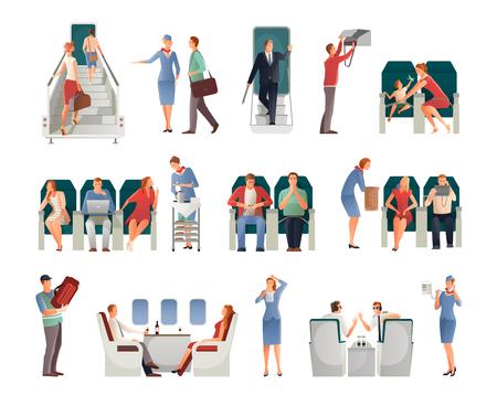 De mensen in vliegtuig plaatsen met inbegrip van de passagiers van de loodsenstewardess op zetels of met handbagage geïsoleerde vectorillustratie