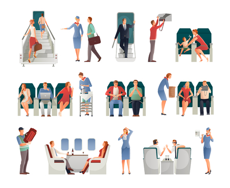People in airplane set including pilots stewardess passengers on seats or with hand baggage isolated vector illustration