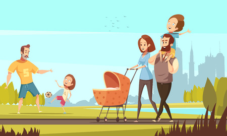 Young family with toddler and baby walking in park outdoor with cityscape background retro cartoon vector illustration