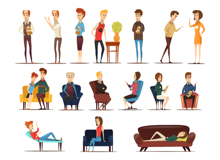 Visit to psychologist set of specialists and persons needing in advice including family couple isolated vector illustration
