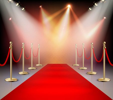 Realistisch rood tapijt in de gebeurtenis van de verlichtingssamenstelling of toekenningsceremonie voor de sterren vectorillustratie