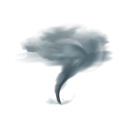 Tornado twirling twister spinning into cloudy sky in black grey shades on white background realistic vector illustration Illustration