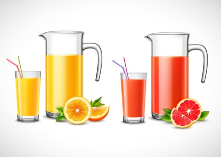 Jugs with citrus juice and full glasses with colorful straws fruit with green leaves isolated vector illustration Иллюстрация