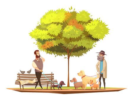 公園のシンボル漫画のベクトル図のなかを歩いて犬所有者コンセプト  イラスト・ベクター素材