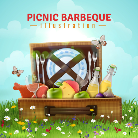 Picnic barbecue design with food, drink and tableware in open suitcase laying at flower meadow vector illustration Çizim