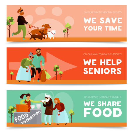 Set of three volunteers horizontal banners with humanitarians assisting senior citizens sharing food and walking dogs vector illustration Illustration