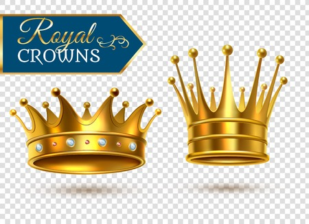 Royal gold crowns 2 shining  realistic images set on transparent background closeup shadows isolated vector illustration