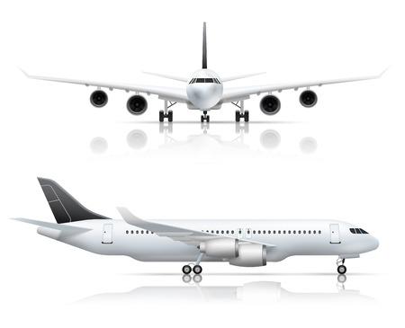 大型旅客ジェット旅客機フロント側飛行機ビュー現実的な設定ホワイト バック グラウンド分離された反射ベクトル図と