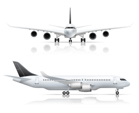 Large passenger jet airliner front and side airplane view realistic set white background reflection isolated vector illustration Stock Illustratie