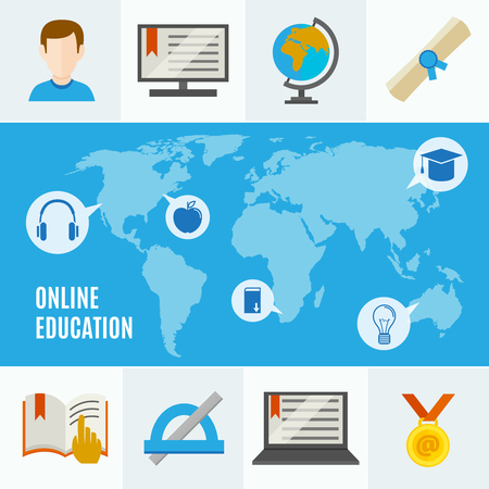 Elearning flat concept with online education headline and idea of learning anywhere in the world vector illustration
