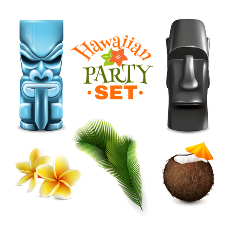Hawaiian party set of isolated tin god idols coconut and tropical plant images on blank background vector illustration