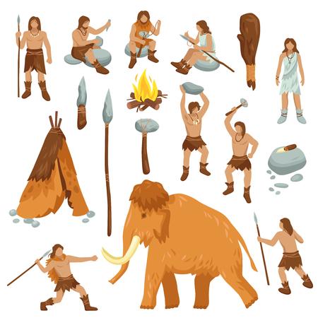 Le icone piane del fumetto della gente primitiva messe con i cavernicoli nello strumento dell'arma di età della pietra e gli animali antichi hanno isolato l'illustrazione di vettore