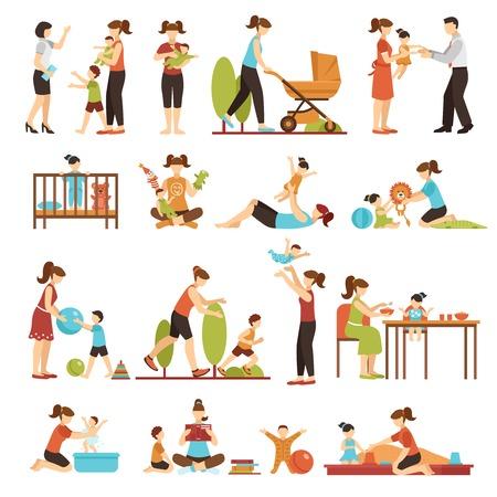 Conjunto plano de niñera de iconos de colores decorativos con padres niñeras y niños en varias situaciones ilustración de vector aislado