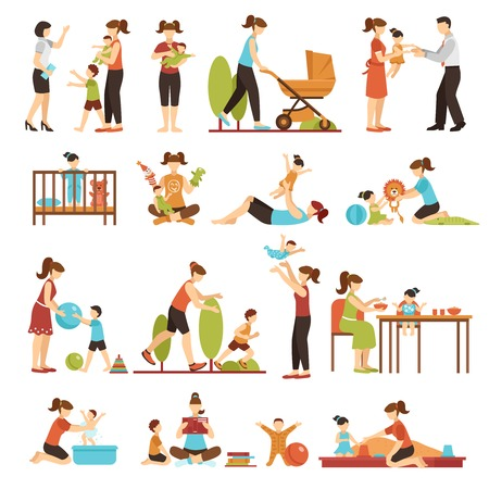 Babysitter flat set of decorative colored icons with nanny parents and kids in various situations isolated vector illustration