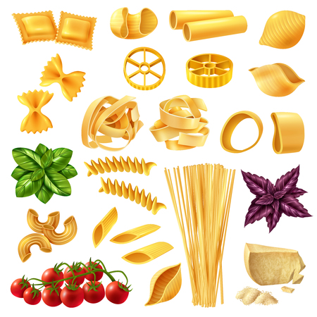 Realistic set of pasta including penne, fusilli, tagliatelle, farfalle, spaghetti, cheese, tomato and basil isolated vector illustration