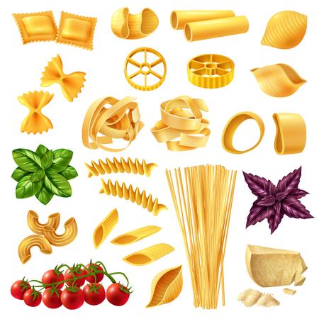 Set realistico di pasta tra cui penne, fusilli, tagliatelle, farfalle, spaghetti, formaggio, pomodoro e basilico illustrazione vettoriale isolato Vettoriali