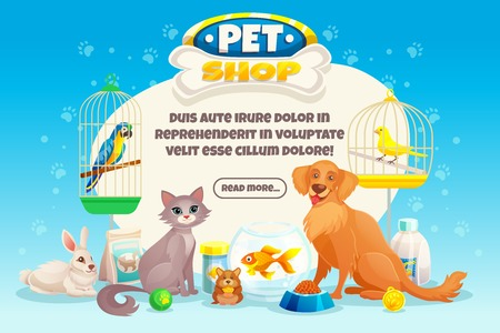 Colored cartoon pet shop composition or banner with descriptions about pets and read more button vector illustration Stock Illustratie